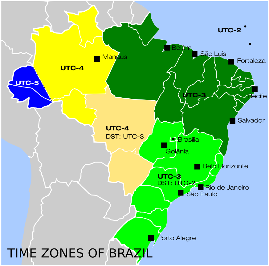 Brazil has how many time zones