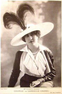 Woman wearing one of Chanel's first hats
