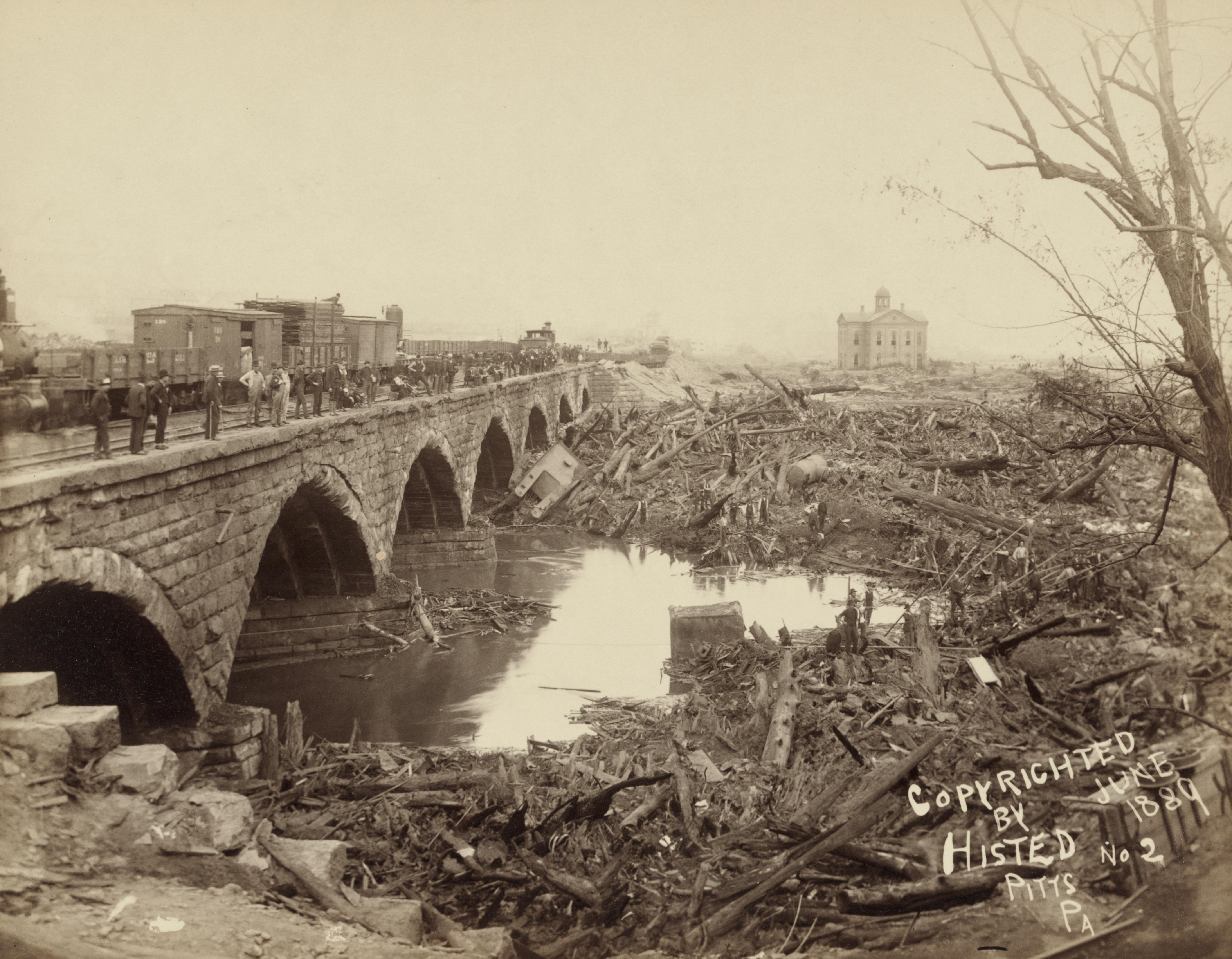 file debris at the p r r bridge after the johnstown
