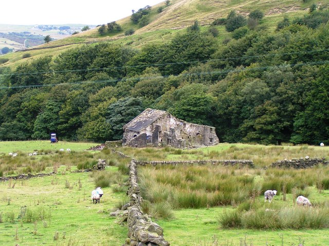 Derelict Farm buildings below Stoodley Pike - geograph.org.uk - 1229334