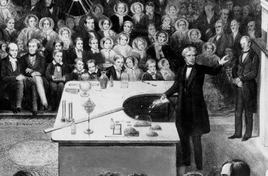 A picture of Michael Faraday lecturing at the Royal Institution.