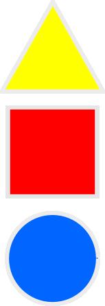 Las tres formas básicas asociados a los colores primarios segun el pintor Kandinsky
