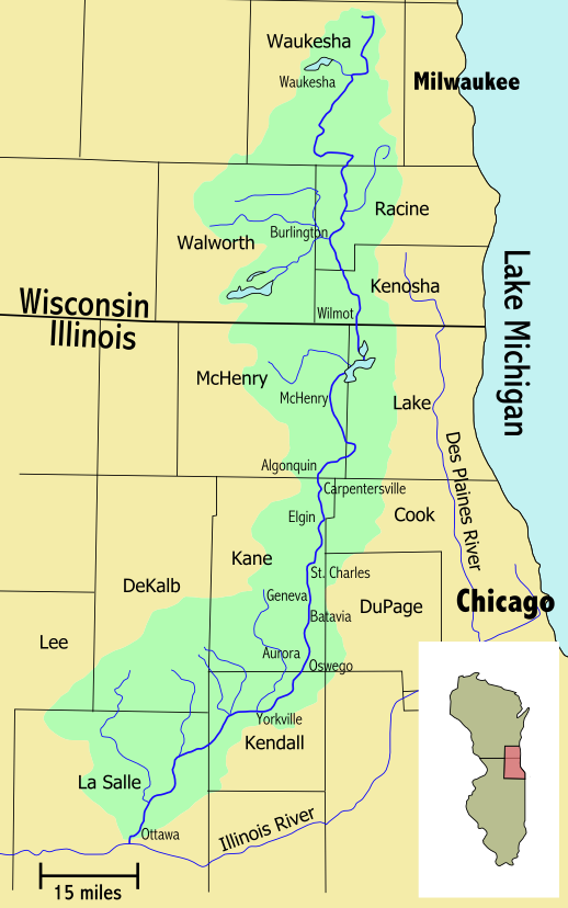 Fox River Illinois River Tributary Wikipedia - Map of illinois rivers