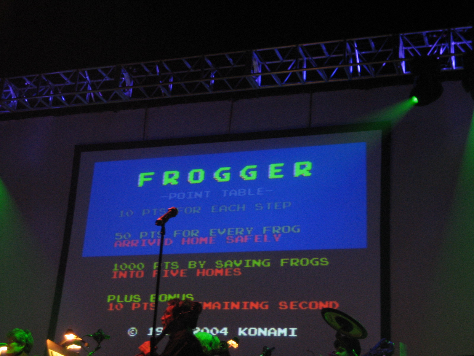 Frogger at Video Games Live.jpg English: Music of 1981 arcade game Frogger being played at Video Games Live in 2006. Date 24 March 2006, 21:29:55
