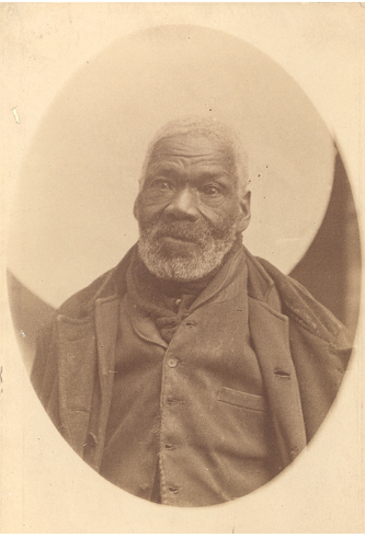 The only known photograph of a Black Refugee, c. 1890. During the war, a number of African Americans slaves escaped aboard British ships, settling in Canada or Trinidad. Gabriel Hall, Nova Scotia.png