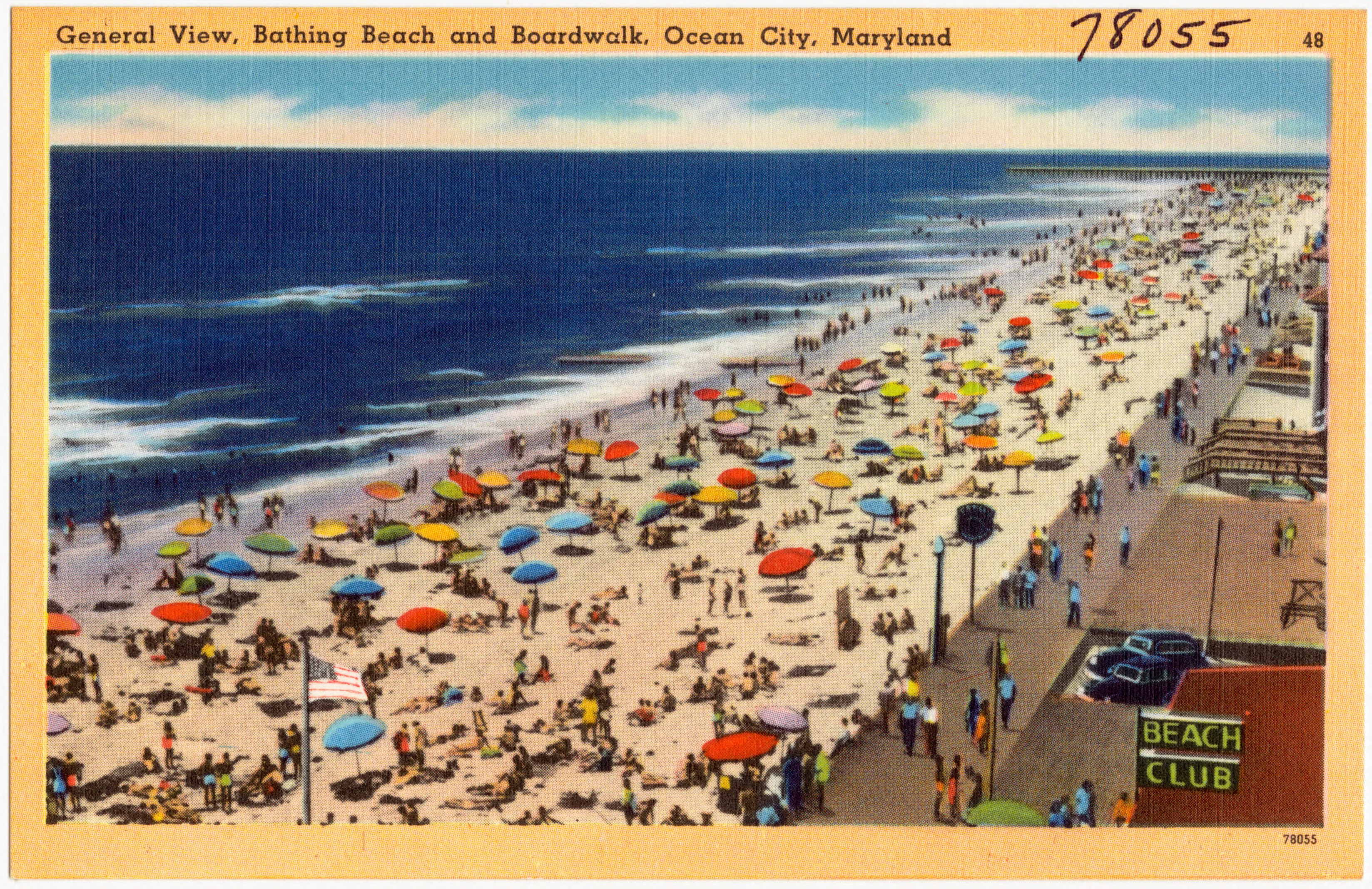 File General View Bathing Beach And Boardwalk Ocean City Maryland 78055