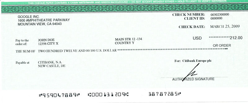 AdSense pay check