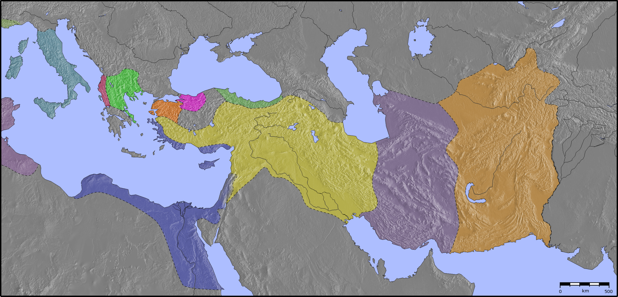 Hellenistic world 200BC blankpng Atlas of Lebanon