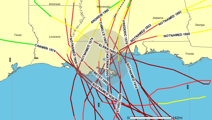 Hurricanes Category 3 or greater within 100 miles of New Orleans.jpg