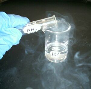 Ammonia fumes from aqueous ammonium hydroxide (in test tube) reacting with hydrochloric acid (in beaker) to produce ammonium chloride (white smoke).