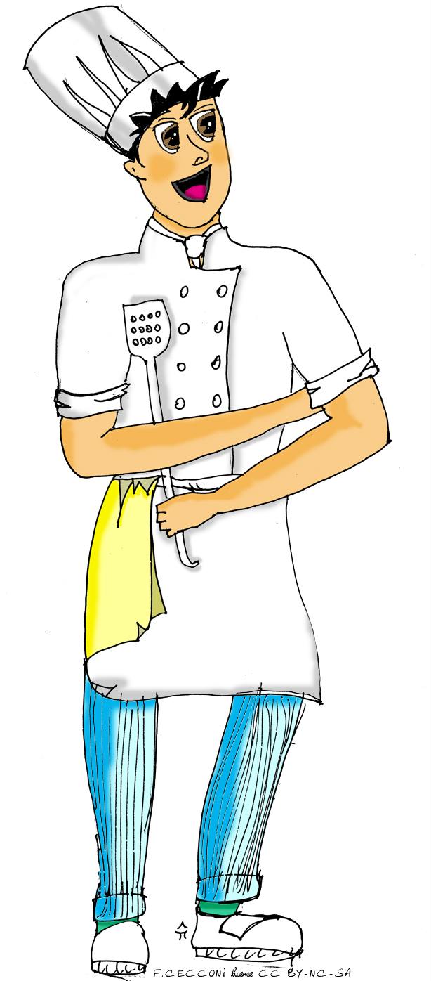 File illustration cuisinier type manga for Tenue professionnelle cuisine