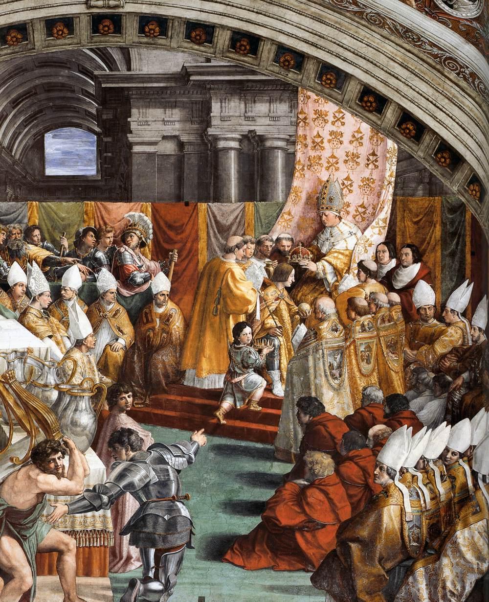 Die Krönung Karls des Großen, Fresko von Raffael, zwischen 1516 und 1517
