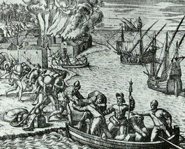 French pirate Jacques de Sores looting and burning Havana in 1555