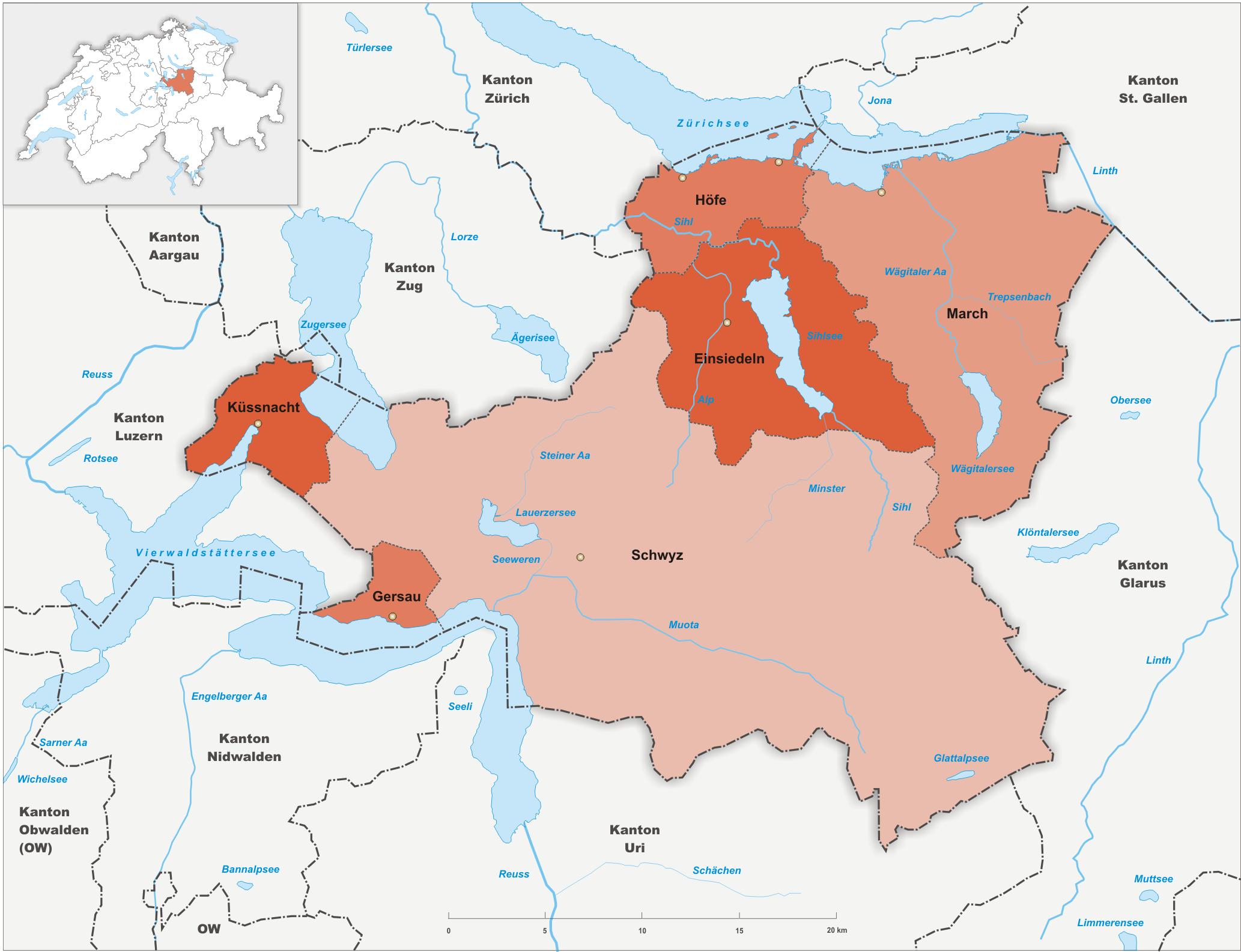 Bezirke des Kantons Schwyz