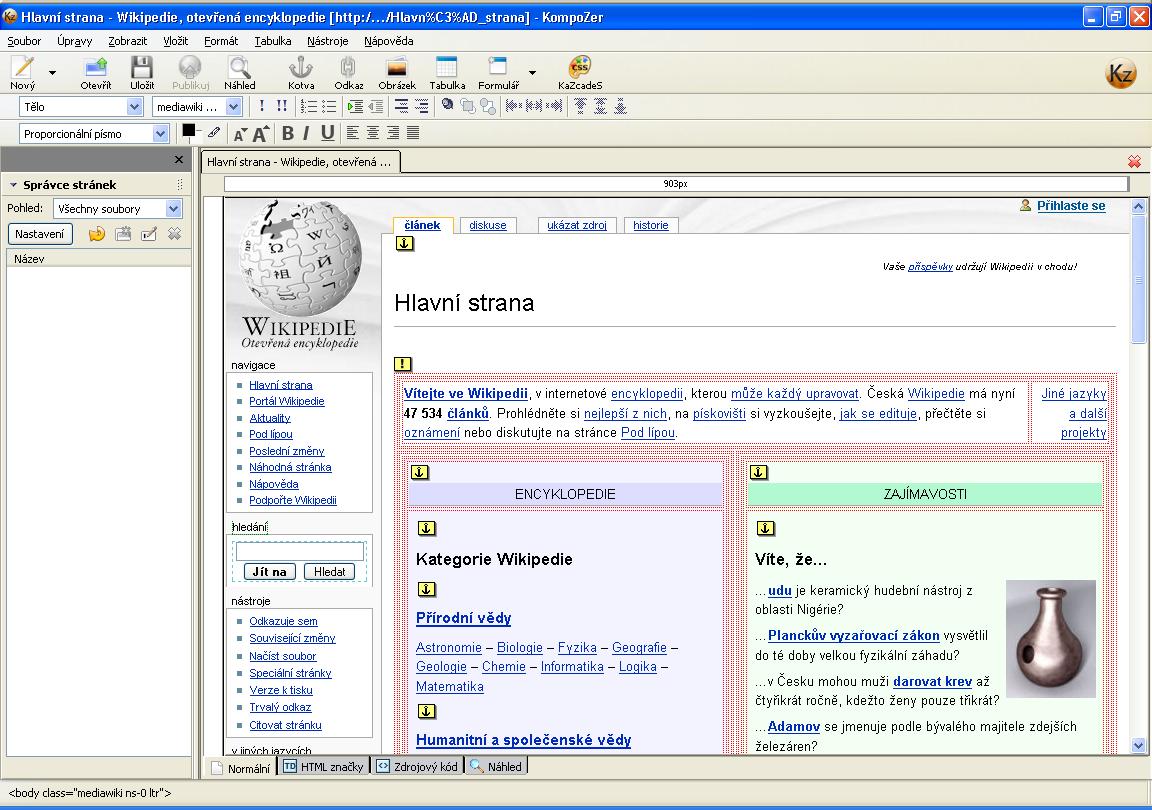 kompozer � wikipedie