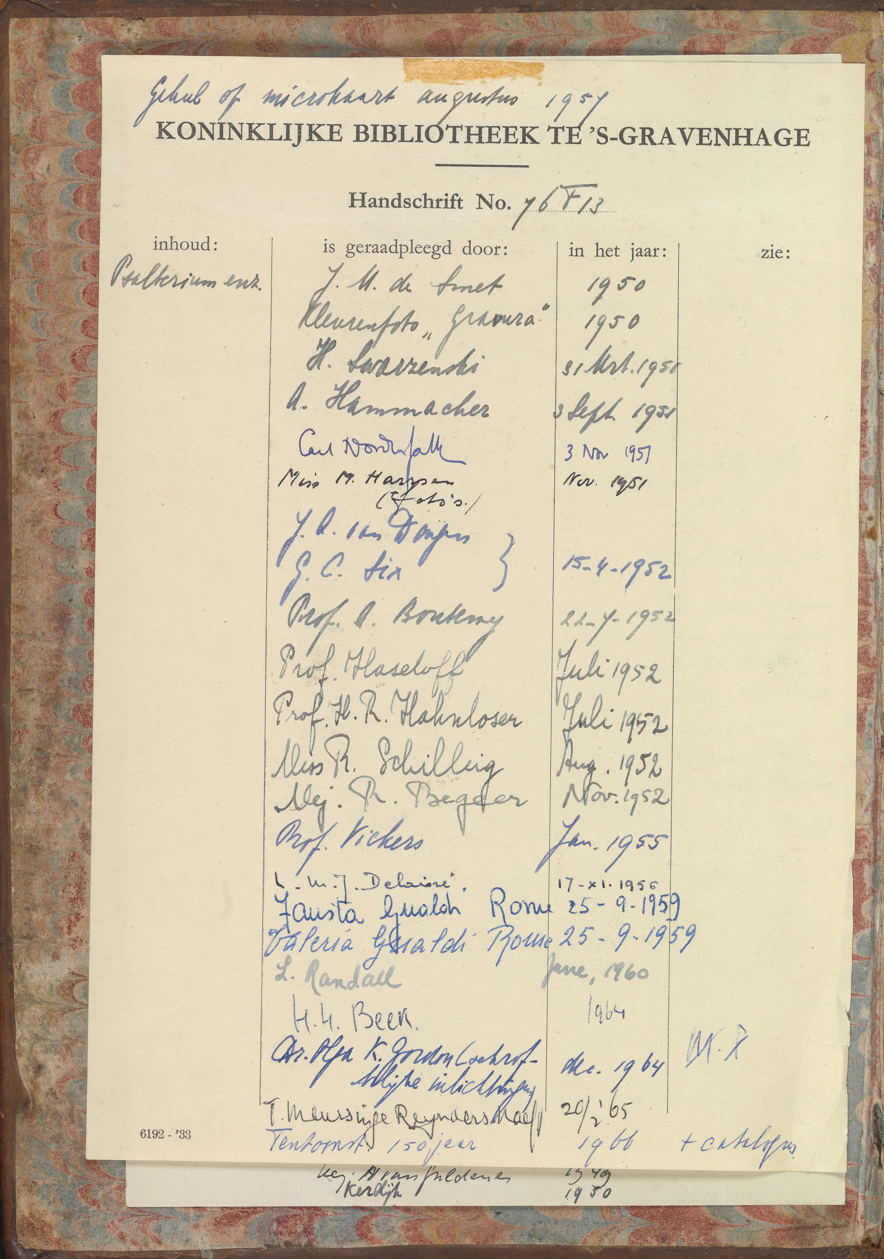 File Check Out Card file:library check-out card (1950-1966) in the psalter of