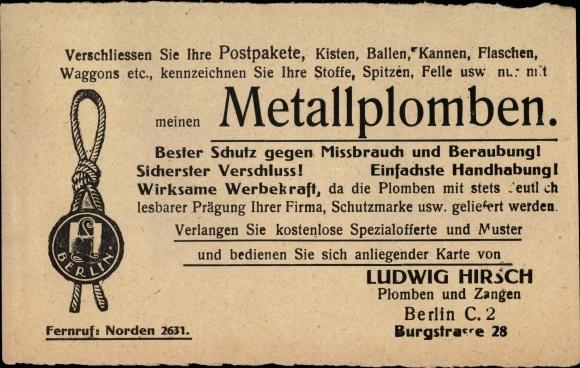 File:Ludwig Hirsch (Plombenhirsch), Berlin, Werbekarte 1920 (1).jpg ...