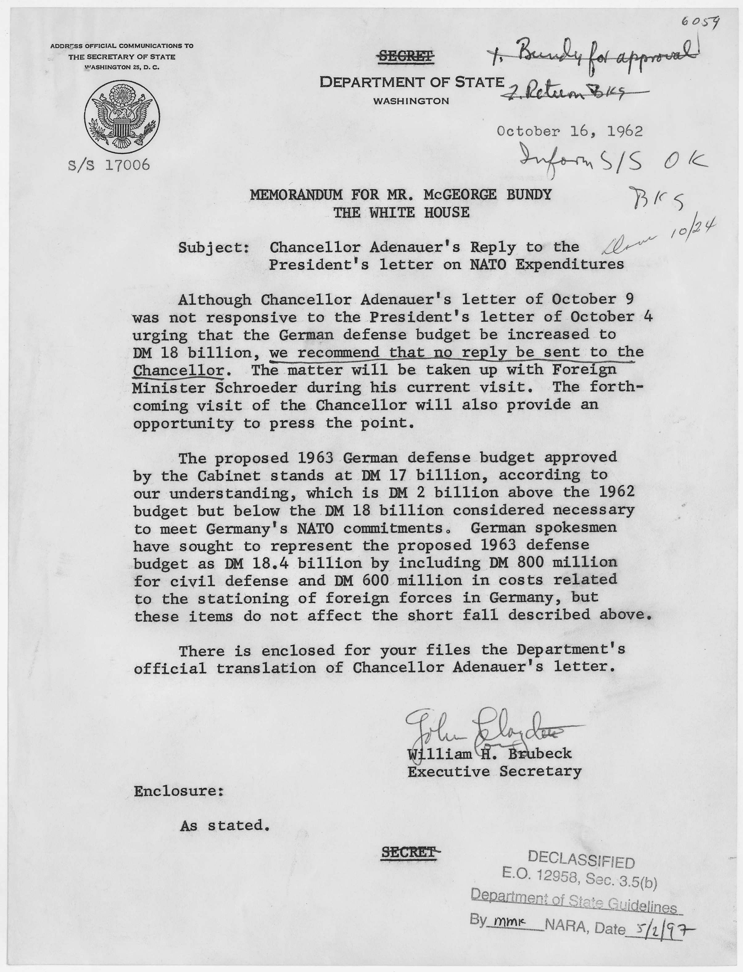 filememorandum for mcgeorge bundy chancellor adenauers reply to the presidents letter on nato expenditures