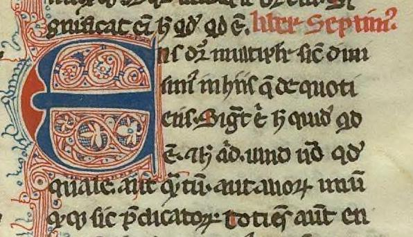 Beginning of book 7 of Aristotle's Metaphysics, translated into latin by William of Moerbeke. 14th century manuscript.