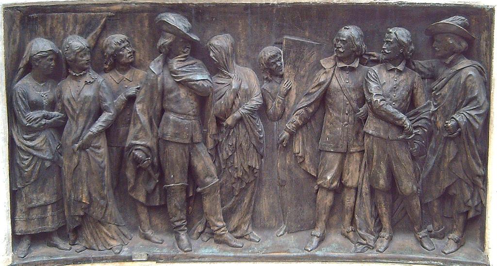 El escondido y la tapada. Detalle del monumento a Calderón de Madrid (Joan Figueras Vila, 1878).