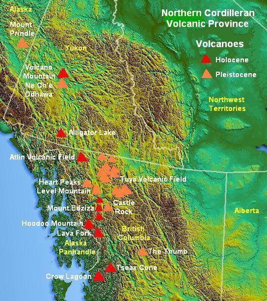 volcanoes in canada map