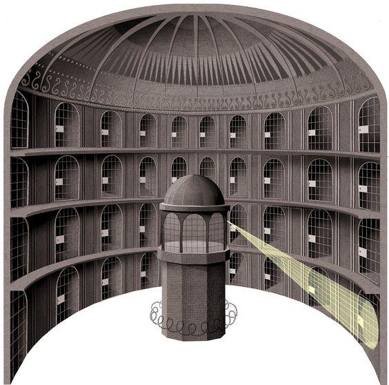 Plan of Jeremy Bentham's panopticon prison. By Blue Ākāśha. Creative Commons Attribution-Share Alike 4.0 International license.