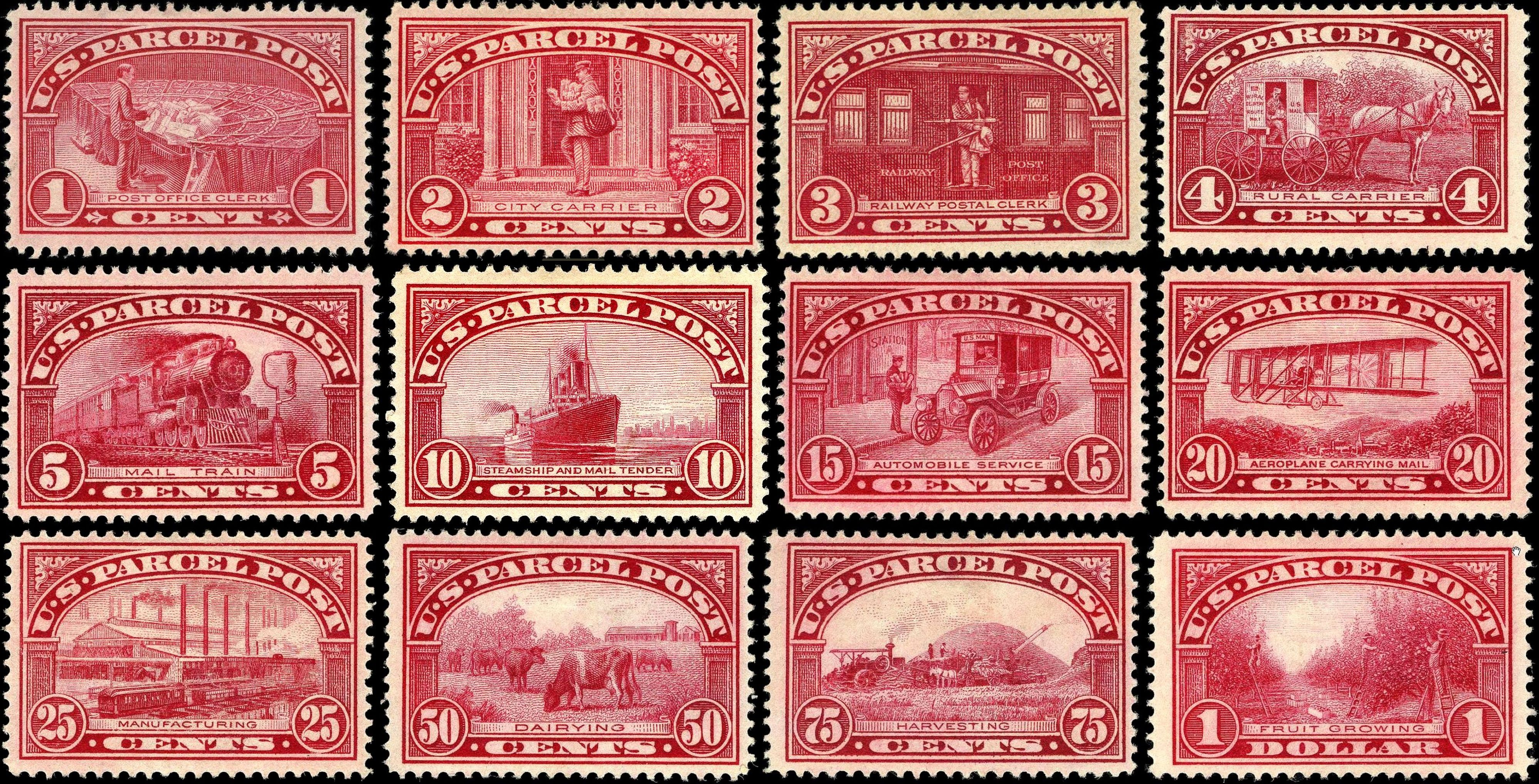 US Parcel Post Stamps Of 1912 13