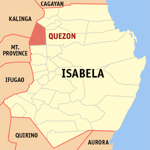 Map of Isabela showing the location of quezon