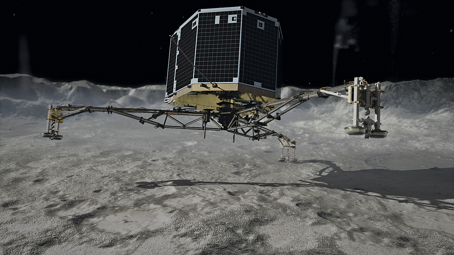 Artist concept of Rosetta's Philae lander touching down