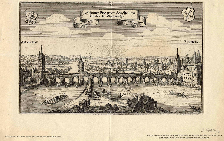 File:Schöner Prospect der Steinern Brücken zu Regenspurg 18Jh Nachdruck  1923 ubs G 1484 II