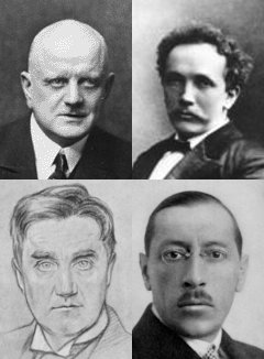 Composers who admired Elgar included (top) Sibelius (l) and Richard Strauss and (below) Vaughan Williams (l) and Stravinsky Sibelius-strauss-RVW-stravinsky.jpg