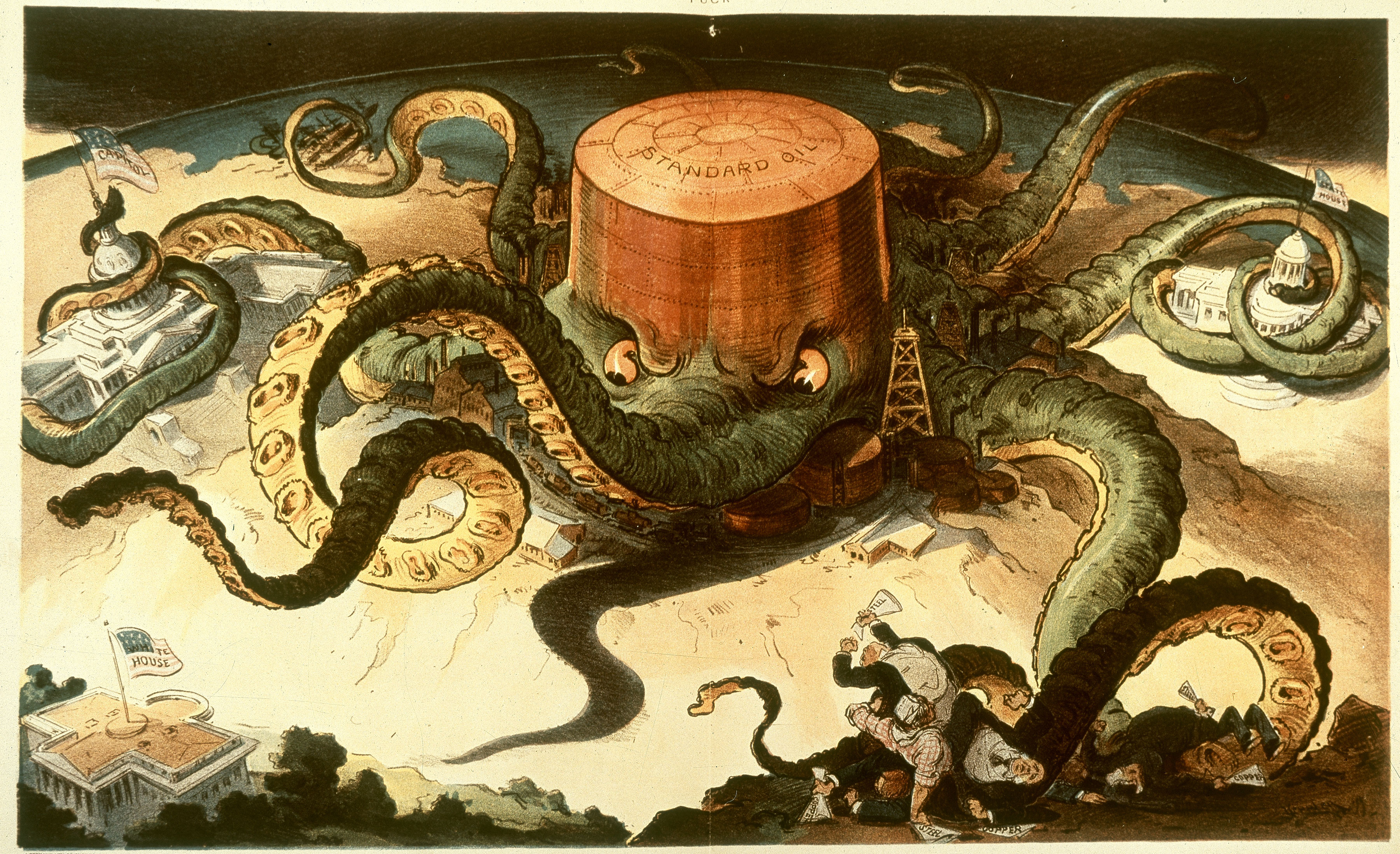 Standard Oil cartoon with octopus, 1904