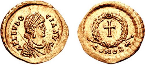 Mynt med Aelia Eudokia som augusta, slått 425-29