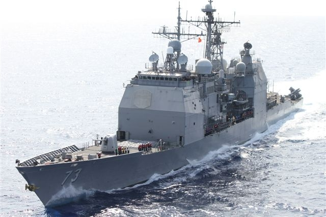 USS Port Royal approaches USNS Washington Chambers while underway in the South China Sea. (32457704772).jpg