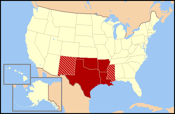 South Central United States Wikipedia - Southern us states map borders