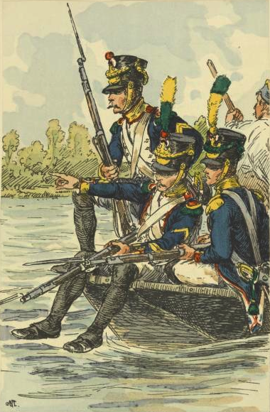 The French made extensive use of landing craft during the first phase of the crossing. Voltigeurs of a French Line regiment crossing the Danube before the battle of Wagram.png