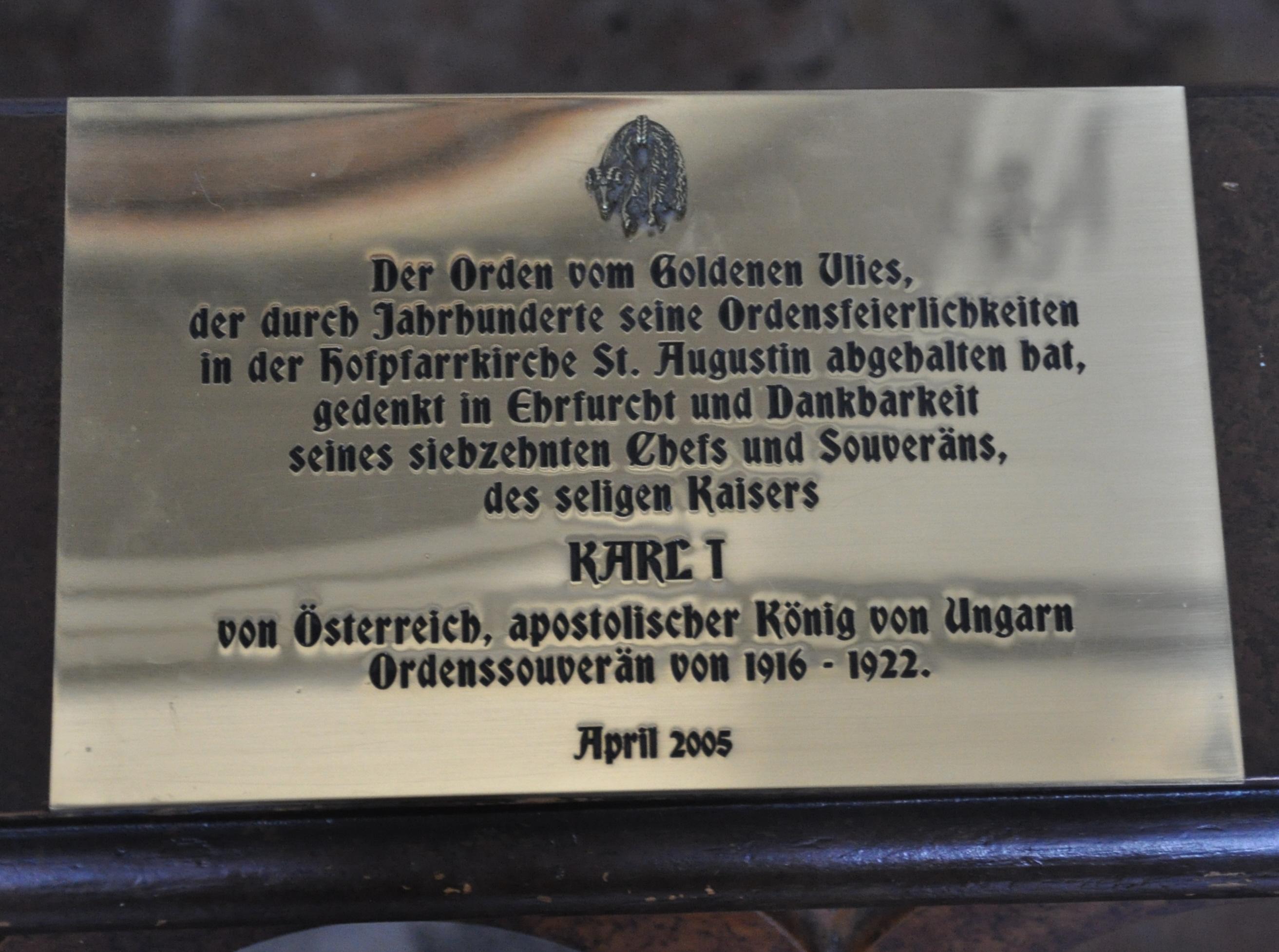 Wien Augustinerkirche Gedenktafel Karl I.jpg