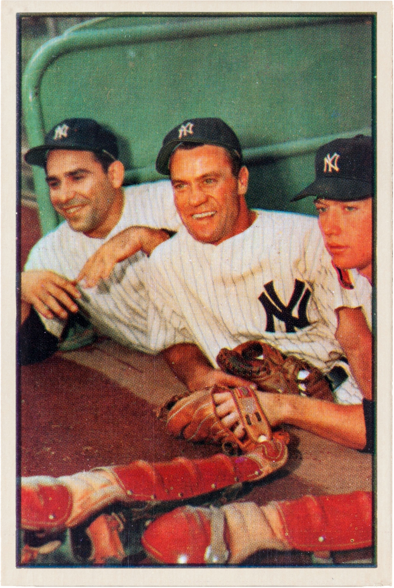 English: Yankees players (L-R:) , , in 1953.