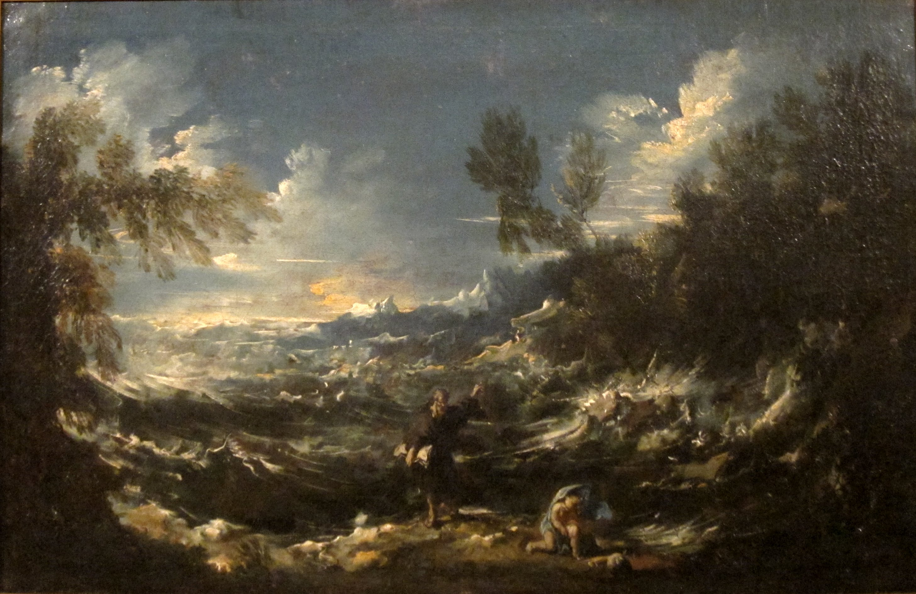 Painting of Saint Augustine at the Seashore by Alessandro Magnasco