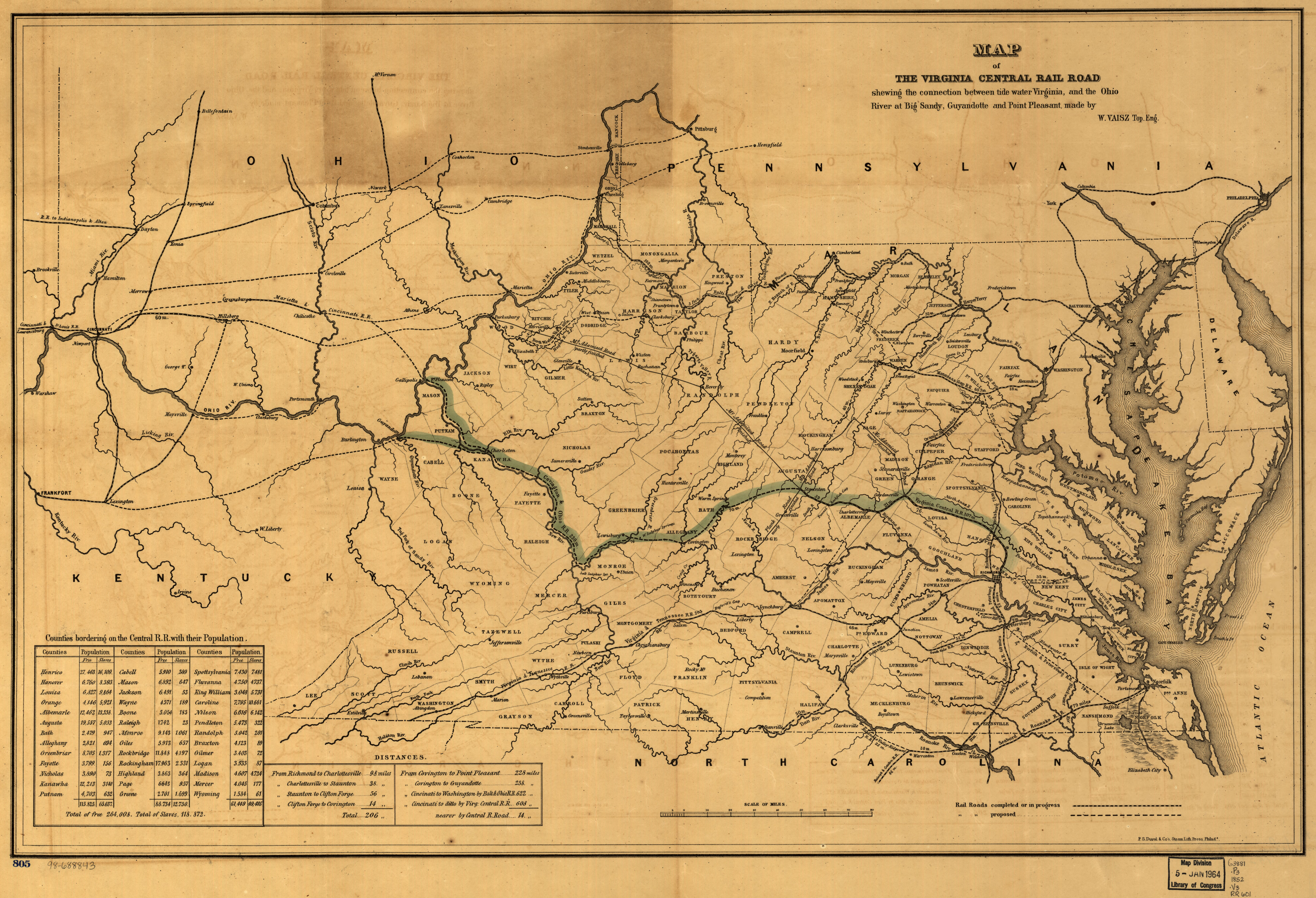 File1852 Map Of The Virginia Central Railroad And Planned