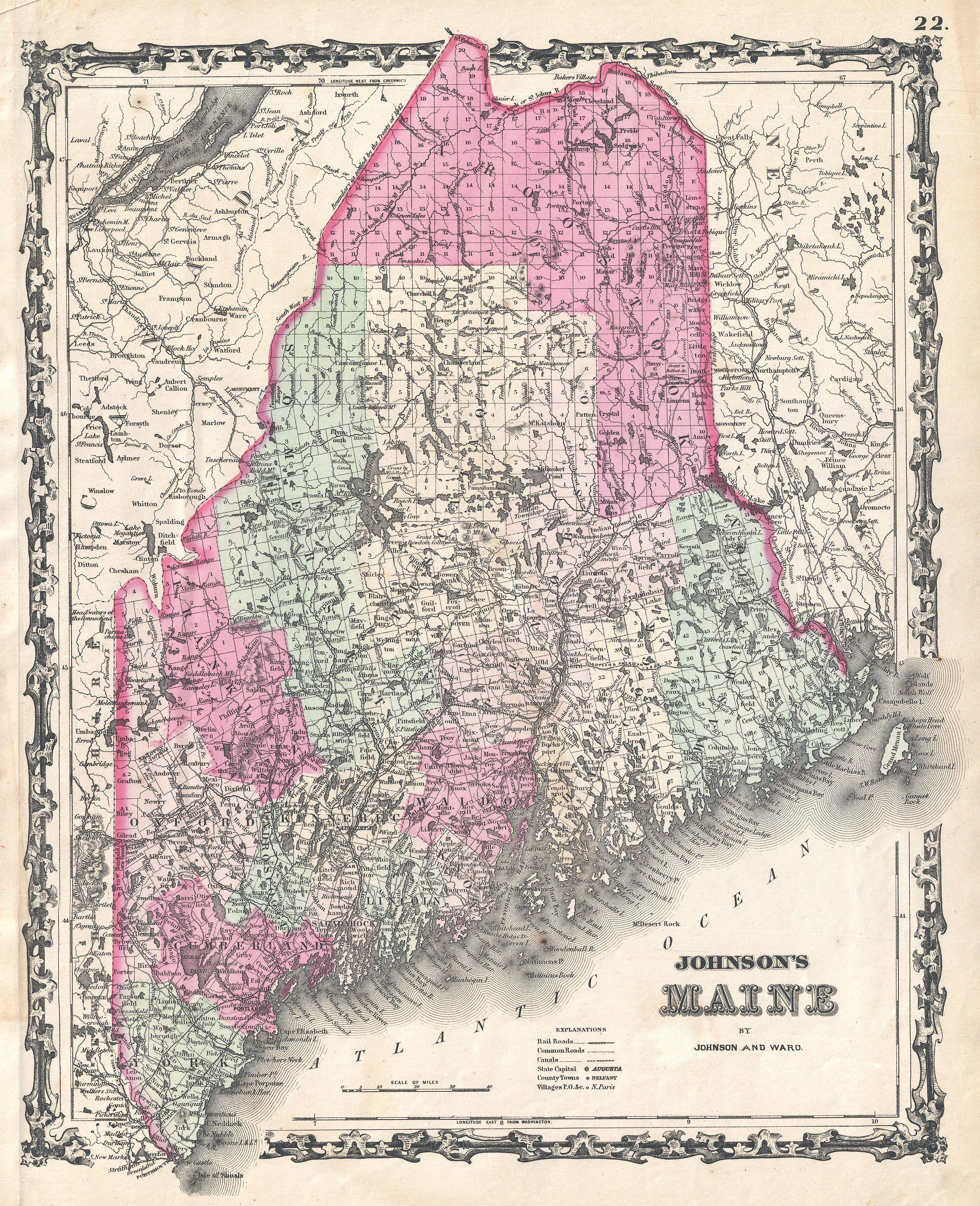 File Johnson Map Of Maine Geographicus MEjohnson - Map of me