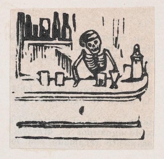 File:A skeleton serving alcohol, from a broadside enitled 'Medicinas de Patente de mas Fama' MET DP869218-1.jpg