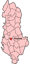 Map showing Kuçovë within Albania