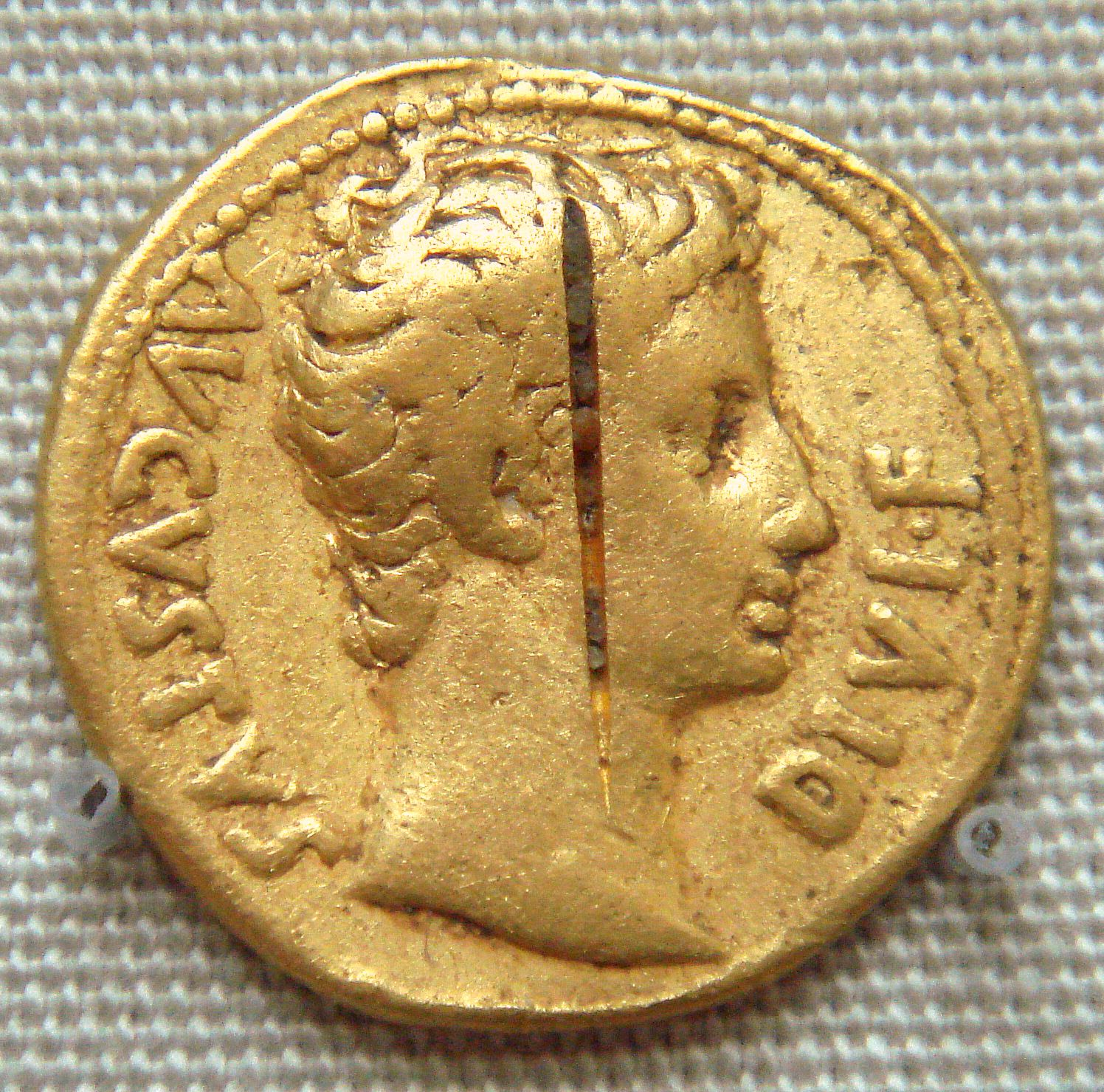 Coin of the Roman emperor Augustus found at the Pudukottai, South India.