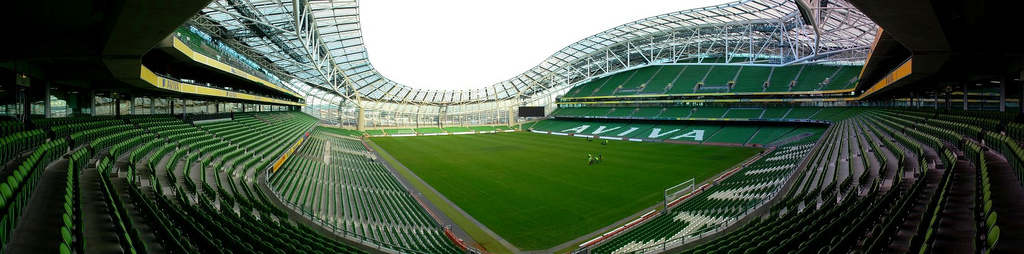 Et panoramaview over Aviva Stadium