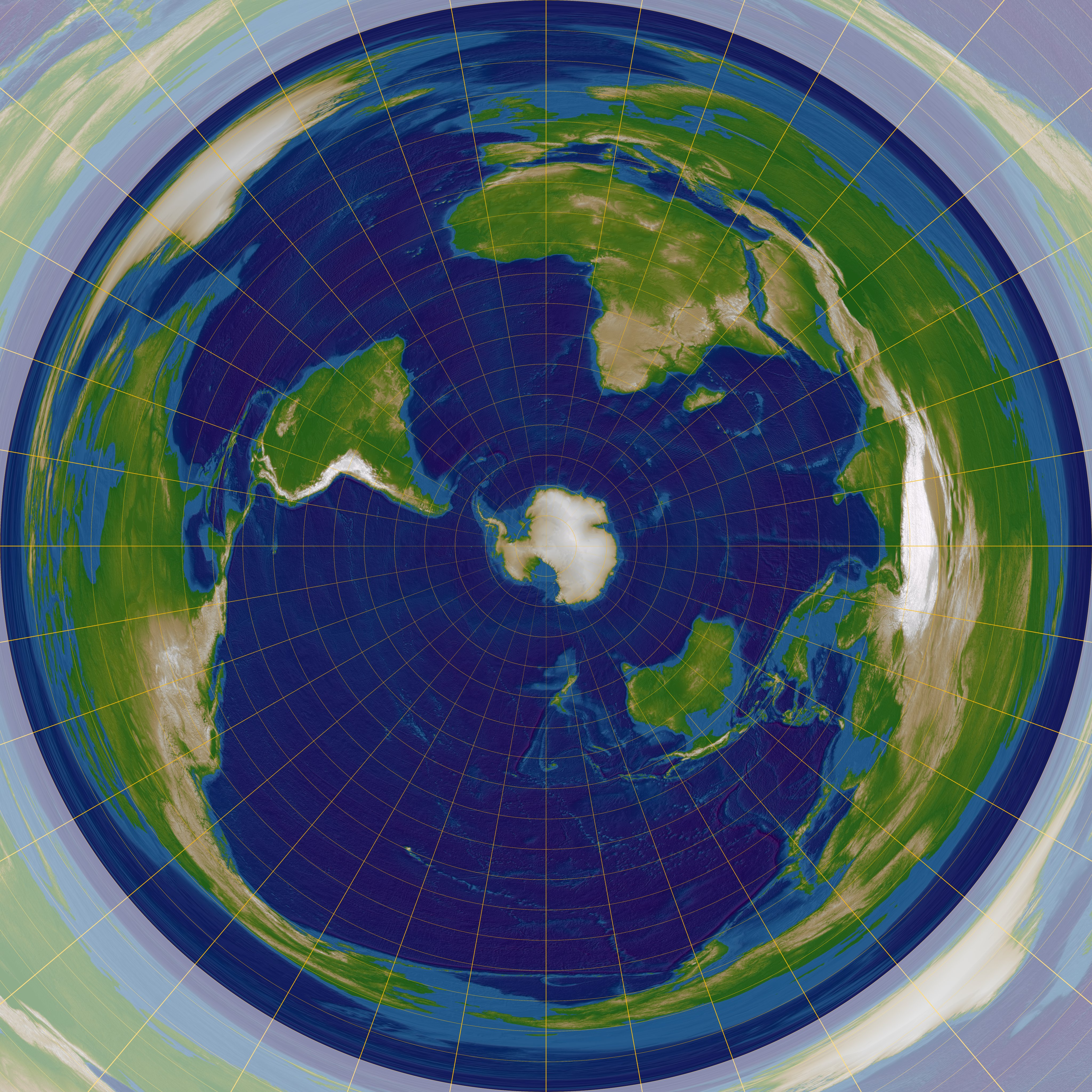 azimuthal equidistant projection Azimuthal equidistant aspect—individual azimuthal map projections are divided into three aspects: the polar aspect which is tangent at the pole.