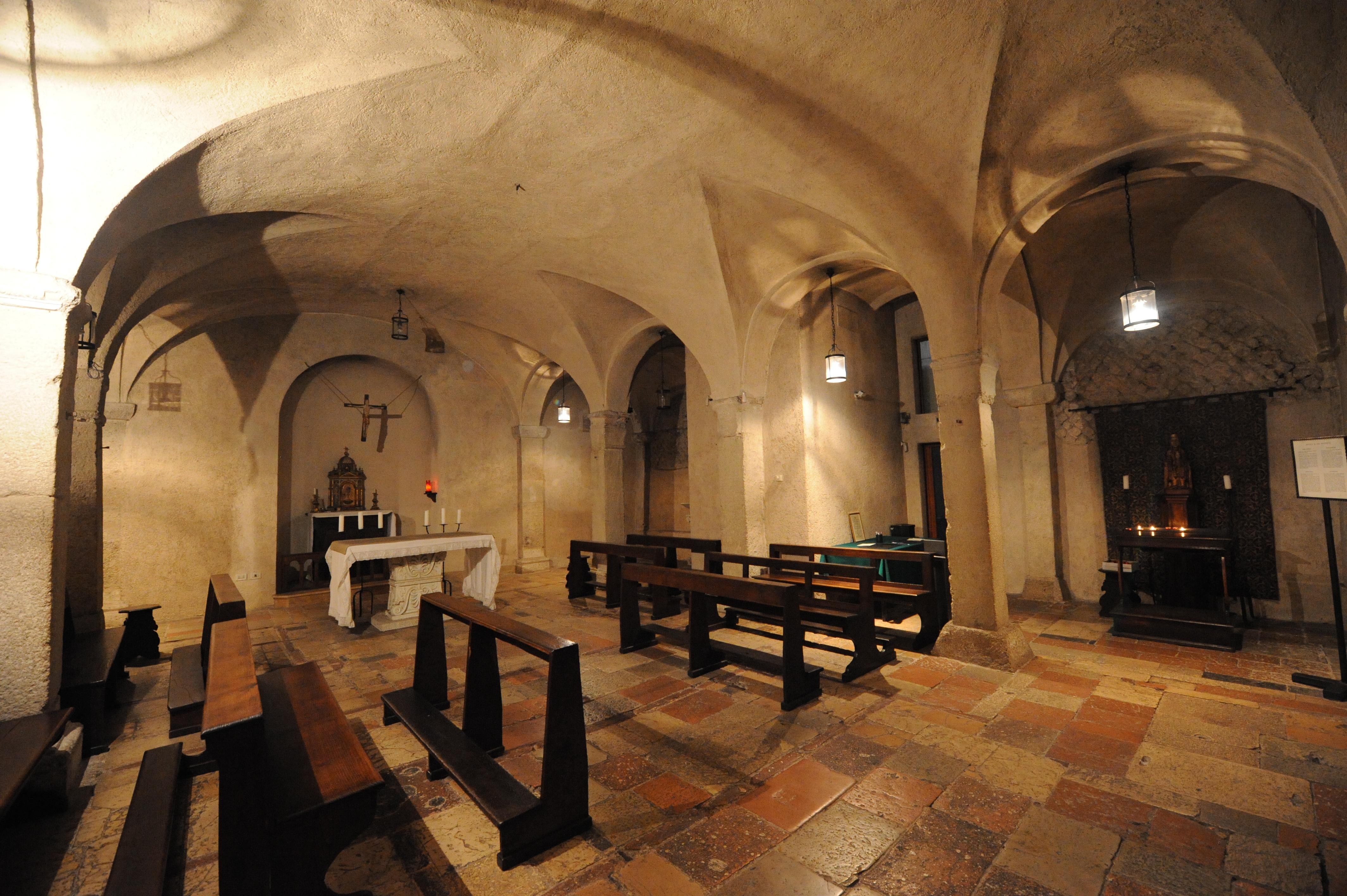 La cripta della Basilica di San Benedetto a Norcia