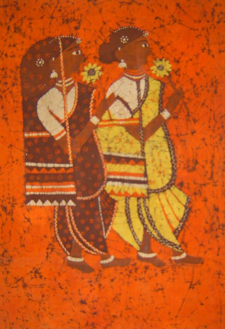 Batik Painting Of Seated Figure By Artist Sonya Mcevoy