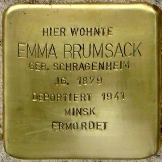Stolperstein Meyerhofstraße 12 Brumsack Emma