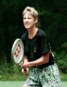 Chris Evert playing tennis at Camp David crop.jpg
